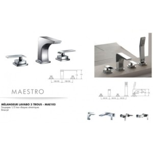Mélangeur lavabo 3 trous Maestro