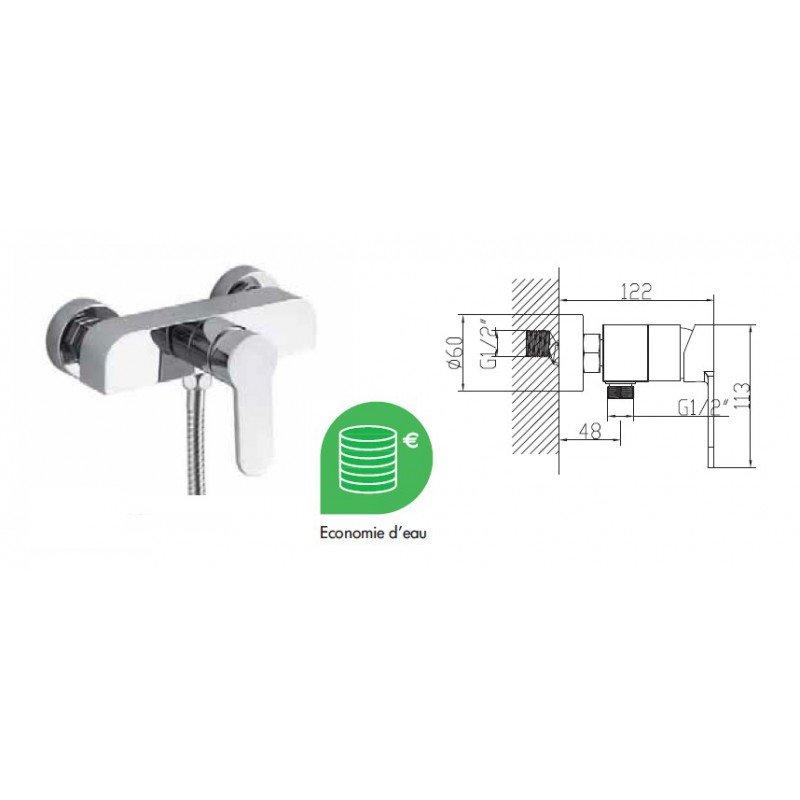 Robinet mitigeur douche leaf exposition de salles de bain cuisines robinetterie et carrelages - Mitigeur douche pas cher ...
